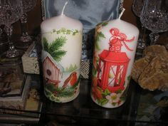 decoupage christmas candles Stella