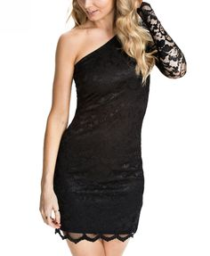 Sexy Diagonal Shoulder Lace Split Joint Dress