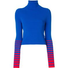 Tommy Hilfiger x Gigi Hadid turtleneck striped sleeve sweater ($142) ❤ liked on Polyvore featuring tops, sweaters, blue, turtle neck top, blue turtleneck, turtle neck sweater, striped sleeve sweater and blue striped sweater