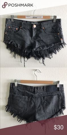 One Teaspoon Black Denim Shorts Faded distressed black denim cutoff shorts by One Teaspoon One Teaspoon Shorts Jean Shorts