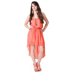 Coral High Low Chiffon #Dress