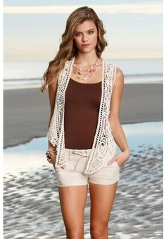 DRAPED CROCHET VEST from Body Central || Get 5% cash back - http://www.studentrate.com/bu/get-bu-student-deals/Body-Central-Discounts--amp--Coupons--/0