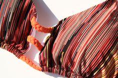 RAYAS - Braided basket weave string bikini top with tassels. Scoop halter neckline. Low rise bottom. Colombian handmade bikini. www.cheekybikinis.com
