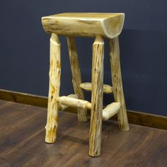 Cedar Lake Half Log Bar Stool by JHE's Log Furniture Place | Cedar Log Bar Stool