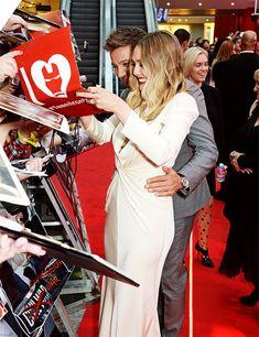 Elizabeth Olsen and Jeremy Renner attend the European Premiere of 'Captain America: Civil War' at Vue Westfield on April 26, 2016 in London, England