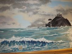 Murals of famous landmarks are effective at promoting positive memories. This mural of St. Michael's Mount is a favourite of both staff and residents. Care Homes, Famous Landmarks, Creative Art, Murals, Original Art, Environment, Waves, Memories, Painting