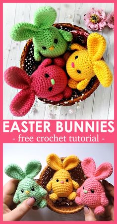Crochet Easter Bunnies Crochet these cute little bunnies for Easter Holiday Crochet Patterns, Crochet Amigurumi Free Patterns, Crochet Animal Patterns, All Free Crochet, Crochet Animals, Crochet Rabbit, Crochet Bunny, Cute Crochet, Crochet Gifts