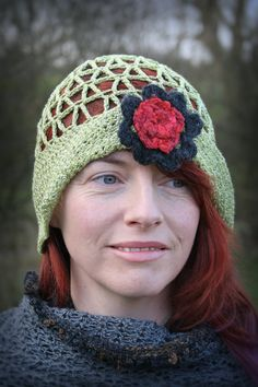 Lacy Green Crochet LadiesCloche Hat with Red Flower. by Arboresk, $53.00