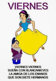 Maestra de Infantil: Rimas con los días de la semana para el aula de infantil Winnie The Pooh, Disney Characters, Fictional Characters, Snow White, Spanish, Classroom, Teaching, Songs, Humor