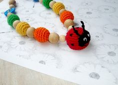 Nursing Necklace Ladybug  Teething Necklace  by MiracleFromThreads, $30.00