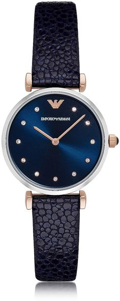 Emporio Armani T-Bar Stainless Steel Women's Quartz Watch w/Midnight Blue Leather Strap