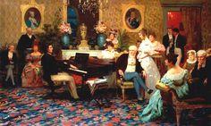 """Henryk Siemiradzki, """"Chopin podczas muzycznego wieczoru rodziny Radziwiłłów"""","""