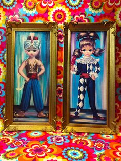 Pair of Vintage 1960's Big Eyed Girl Art by LittleMissModShop