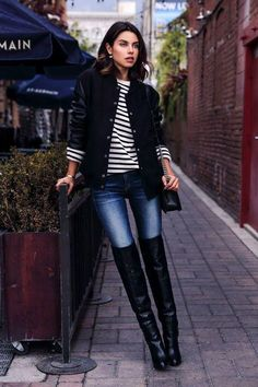 How do you wear over-the-knee boots? Try them like you would ankle booties, worn with skinny jeans and a simple top and jacket. Click for more options, including sexy styles for date night and work-friendly looks.