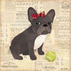 Oopsy daisy 'Frenchie Girl' 21 x 21-inch Stretched Canvas Wall Art