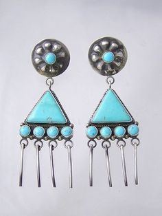 Native American Jewelry - turquoise and silver earrings