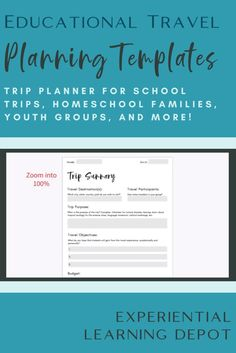 This educational travel planner resource is a guide for planning educational trips. The guide includes templates for budgeting, planning transportation, organizing learning activities on site, and more. This resource is great for school groups, homeschool famillies, road schoolers, youth groups, and more. Homeschool High School, Homeschool Curriculum, Teaching Strategies, Learning Activities, Multicultural Classroom, Youth Groups, Outdoor Education, Experiential Learning, Student Travel