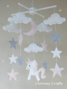 Unicorn Baby Mobile, Unicorn Cot Mobile, Star, Moon and Cloud Mobile, Pastel Pink Baby Mobile, Nursery Decor, Unicorn Crib Mobile.