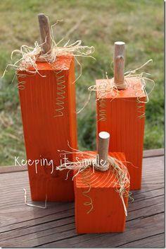 Keeping it Simple: 4x4 pumpkins; Scrap wood posts/tops will work perfectly!