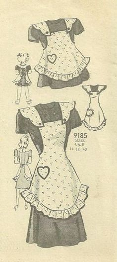 Mail Order 9185 Full Size Bib Apron  with Ruffle Trim, Heart Pocket and Shaped Shoulder Straps