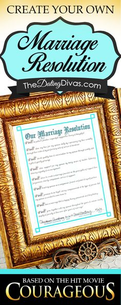 Create your own Marriage Resolution just like in the movie Courageous! I LOVE this idea!