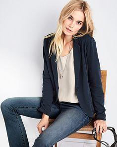 Garnet Hill - Essential Knit Jacket, Washed Silk Tank, Signature Bootcut Jeans