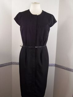 Calvin Klein Black belted, Knee-length, Polyester blend, dress size 6 #CalvinKlein #Sheath #Casual