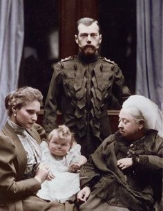 Vintage Royal Portrait - Queen Victoria of Great Britain with Tsar Nicholas II of Russia. Seated on the left is Tsarina Alexandra holding her baby daughter Grand Duchess Olga. (Balmoral Castle, 1896). Tsarina Alexandra (nee Princess Alix of Hesse) is Queen Victoria's granddaughter.