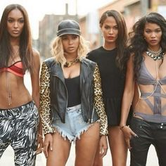 Also in the video clip for 'Yonce', Beyoncé wears a 3.1 Phillip Lim pre-fall motorcycle jacket and One Teaspoon denim shorts (both in store now). Jourdan Dunn is wearing a NLP swimsuit top, and Chanel Iman also wears an Herve Leger swimsuit.