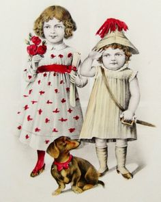 unusual postcards | Unusual Little GIRLS & DACHSHUND Hand Colored Postcard
