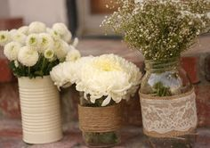 DIY mason jar centerpieces - love the painted tin can too!