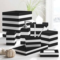 Here are best unique home decoration ideas for black and white bathroom design. See more best bathroom design ideas, minimalist bathroom styles in White Bathroom Accessories Set, Black Bathroom Decor, Black White Bathrooms, Black Decor, White Decor, Modern Bathroom, Black And White Bathroom Ideas, Black Bathroom Sets, Bathroom Shop