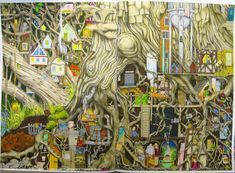 Tree town from Colin Thompson's Colouring Book. Colored by @hanamarma. #prismacolor #colinthompson #coloringbook #adultcoloring