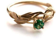 Leaves Engagement Ring - 18K Yellow Gold and Emerald engagement ring, engagement ring, leaf ring, filigree, antique, art nouveau, vintage