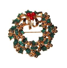 Vintage Gold-tone with Green Glittery Enamel Holly Leaves with Gold Bow & 3 Berries by BeccasBestJewelry on Etsy