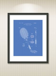 This reproduction was digitally restored and in some cases altered to remove defects or unwanted artifacts present in the original patent document.  Buy more and save! Buy ... #patentart #patentprints #vintage #blueprint #sport #badminton