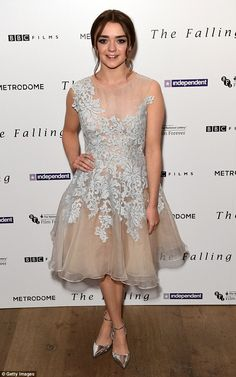 Pretty in a prom dress: Maisie Williams attends the screening of her new film The Falling at the Ham Yard Hotel on Monday night
