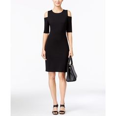 Michael Michael Kors Cold-Shoulder Bodycon Dress ($125) ❤ liked on Polyvore featuring dresses, black, bodycon cocktail dress, body con dress, cut out cocktail dresses, cut-out shoulder dresses and bodycon dress