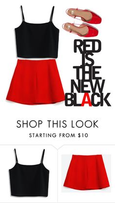 """RED IS THE NEW BL∆CK"" by sriyulianisy ❤ liked on Polyvore featuring Chicwish"