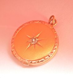 Gold Antique Diamond Starburst Locket Pendant or Charm Antique Locket, Ruby Lane, Pendant Jewelry, Wire, Rose Gold, Charmed, Pendants, Chain, Diamond