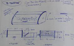 "boceto del archivador ""con pan son menos"" de moix - accesorio diseñado a partir de panera de los 60, para clasificar recibos, facturas. 60 €."