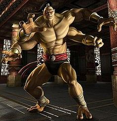 Goro - Mortal Kombat; part of the 4-armed half-human, half-dragon race, called the Shokan. In the original game he has been champion of the Mortal Kombat tournament for 500 years before being defeated by eventual tournament champion Liu Kang. Goro is seen as one of the iconic characters of the series, with various publications listing him as one of the most memorable and difficult bosses in video game history.