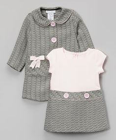 Another great find on #zulily! Pink & Gray Bow Peacoat & Dress - Infant, Toddler & Girls #zulilyfinds