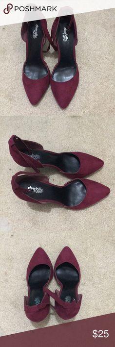 Charlotte Russe strap pointed toe heel Charlotte Russe Maroon pointed toe heel, has an ankle strap, lightly worn, black sole. Cute plan heels Charlotte Russe Shoes Heels