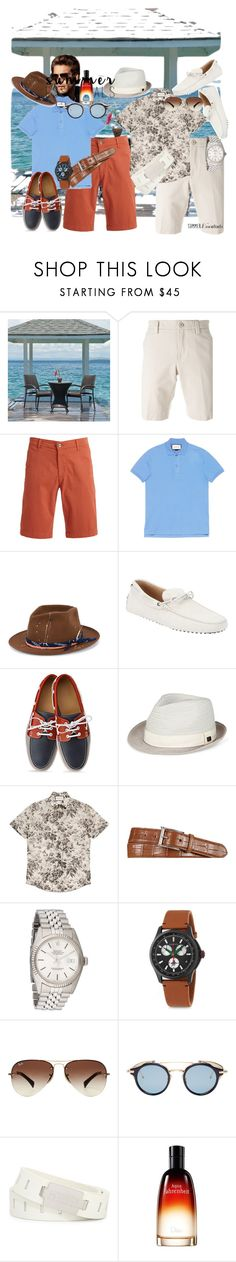 """#summermenswearessentials"" by bigwwk ❤ liked on Polyvore featuring Loro Piana, AG Adriano Goldschmied, Gucci, Nick Fouquet, Tod's, Sean John, Ralph Lauren, Rolex, Ray-Ban and Thom Browne"