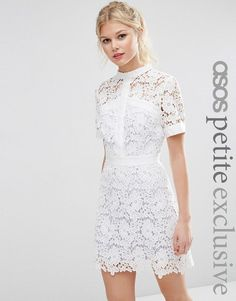 ASOS Petite | ASOS PETITE Lace Skater Dress with Contrast Lining at ASOS