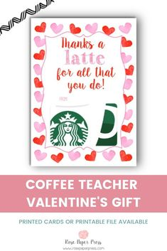 Coffee Valentine s Day Teacher Gift Card Holder - Starbucks, Dunkin Donuts. Printed cards or printable file available. Shop teacher Valentine s Day gifts and more today. Starbucks Valentines, My Funny Valentine, Valentines Day Gifts For Friends, Teacher Valentine, Starbucks Gift Card, Gifts For Coworkers, Valentine Day Cards, Valentine Day Gifts, Valentine Party