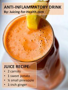 Uno de los jugos para desinflamar y liberar dolor en articulaciones,  2 zanahorias 1 papa dulce o 1 camote sin cocinar 2 rebanadas de piña 1 pulgada de gengibre 1 pulgada de curcuma o 1 cda de curcuma en polvo  Se puede hacer jugo en extractor o batido en licuadora y luego colar. Normalmente las frutas no mezclan bien con las raices pero en este caso la piña potencializa las propiedades ant-inflamatorias de los demas ingredientes...
