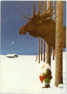 Mousse chocolate was invented by Gnomes (called G'nomcholate). Here you see the towering Gnome figure of Lafe G'nomolateson who looked up after his sweet prayers and saw the the color brown ( hence Mousse Gnomcholate! Swedish Christmas, Christmas Gnome, Scandinavian Christmas, Christmas Art, Vintage Christmas, Christmas Illustration, Illustration Art, Les Moomins, Scandinavian Gnomes