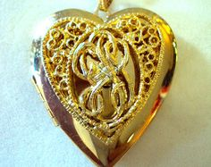 14kt HGE Heart Shaped Locket Necklace Style by Smart. On Etsy at RetroRosiesVintage.